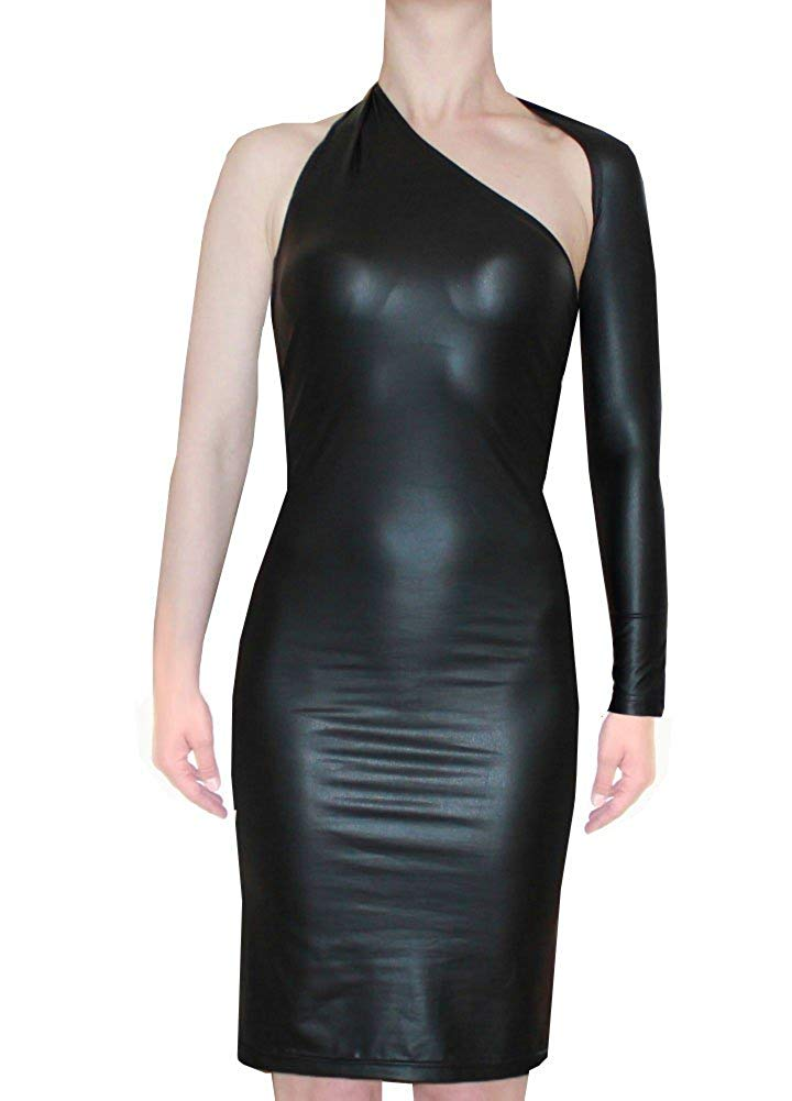 222693e782a7b Get Quotations · EK Women s sexy backless one shoulder dress Faux leather  long sleeved bodycon
