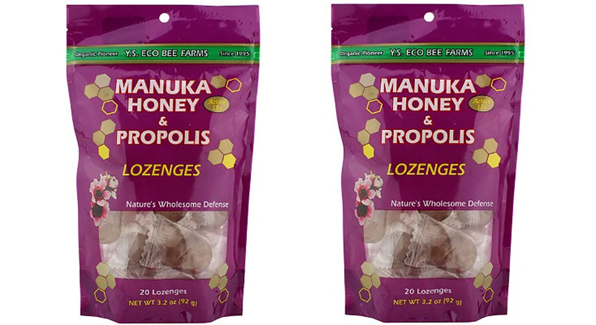 Y.S. Eco Bee Farms Manuka Honey and Propolis Lozenges Bag, 20 Count 2 Pack