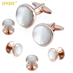 Men Dress Suit Tuxedo 4 Studs Set Rose Gold Stone MOP Cuff Links Men Jewelry