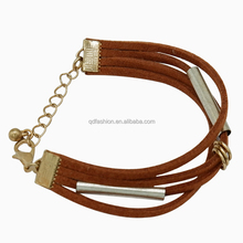 Multilayer leather bracelet wholesale bohemia style wine red rope bangle