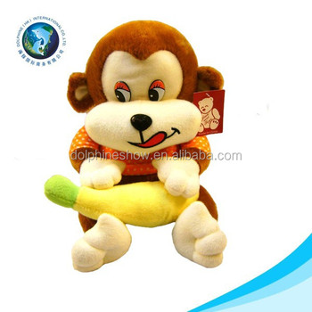 New Design Promotional Cheap Big Mouth Monkey With Banana Stuffed