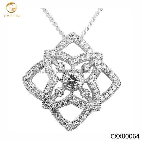Beautiful fashion designed silver pendant necklace with cubic zirconia cross