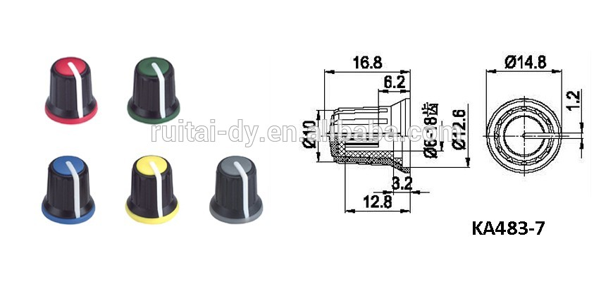 Plastic Colour Aluminum Knob Potentiometer Knob