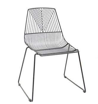 2019 Hot Sale Black Frame Outdoor Waterproof Metal Wire Stacking Dining Chair