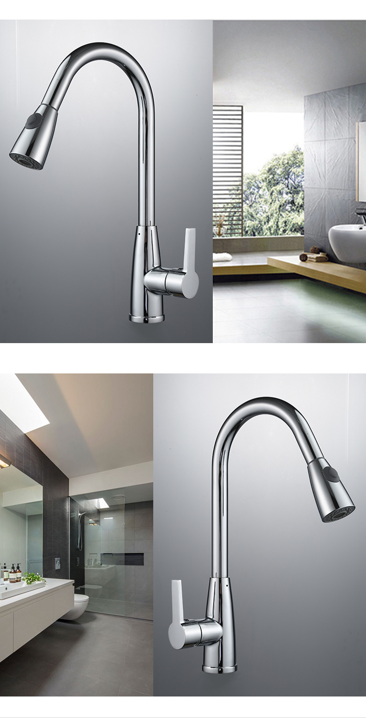High quality hot and cold brass brush water mixer kitchen faucet with spray