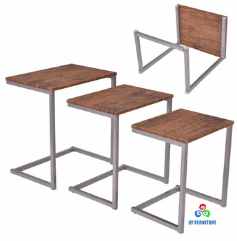 Stacking Nesting End Table Set Wooden Nest Of Tables 3 Pcs Coffee With Metal Legs