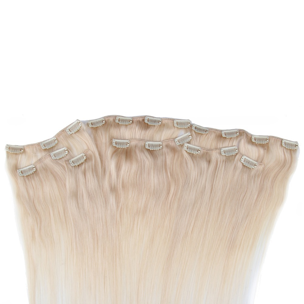 Get Quotations  C2 B7 Clips In Straight Hair Extension  Weft Bleach Blonde Hair Color