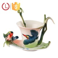 Enamel Porcelain bird and bamboo cup saucer spoon set for coffee tea