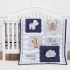 100%cotton Baby Boy Bedding Crib Bed Sheet Cartoon Sheep Applique 100% Organic Cotton Baby Boy Crib Bedding Set Grey
