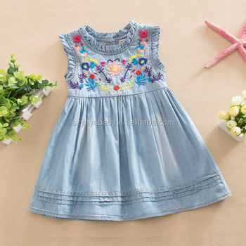 Yaya Baby Denim Dress Hand Embroidery Designs For Baby Dress Buy