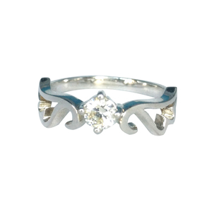 925 silver synthetic diamond angel wings engagement ring