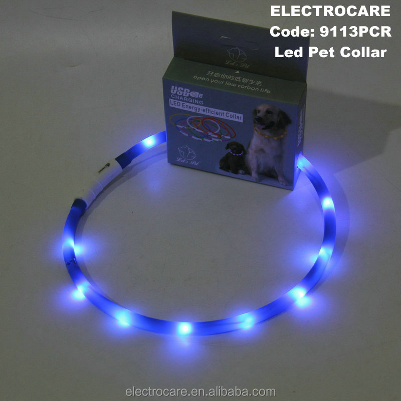 Adjustable USB Rechargeable USB Silicone Waterproof LED Flashing Safety Pet Dog Collar 9113PC