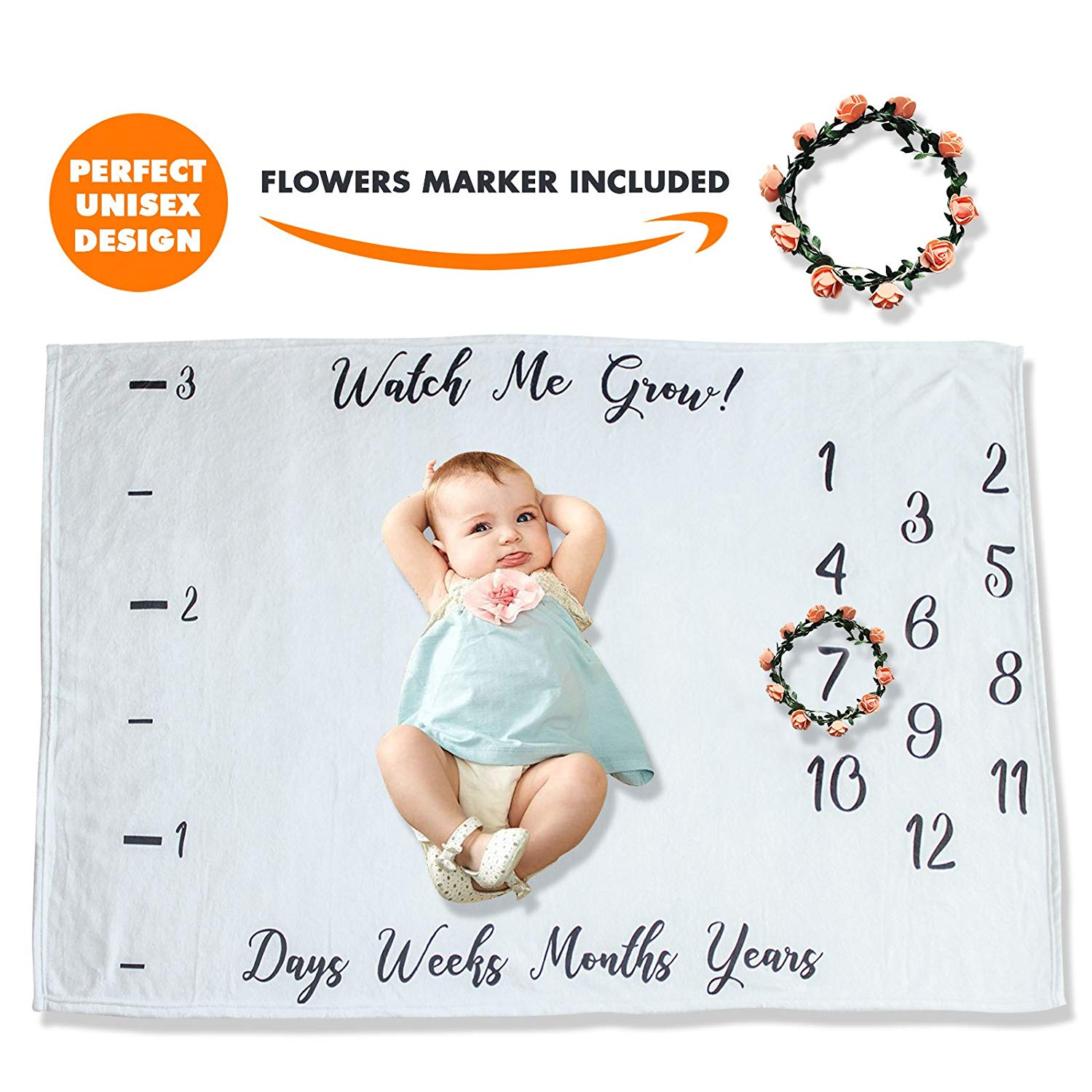 "PITZKI Premium Fleece Monthly Baby Milestone Blanket | Large 60"" x 40"" 