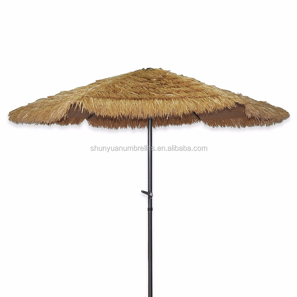 8.2' Feet Tiki Thatched Hula Beach Umbrella Crank Open System Umbrella in Natural