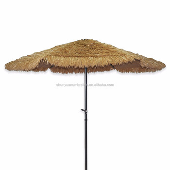 8 2 Feet Tiki Thatched Hula Straw Beach Umbrella Crank Open System In Natural Retro Style