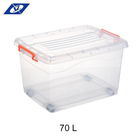 Eco-Friendly 70L plastic food clear storage box with handle