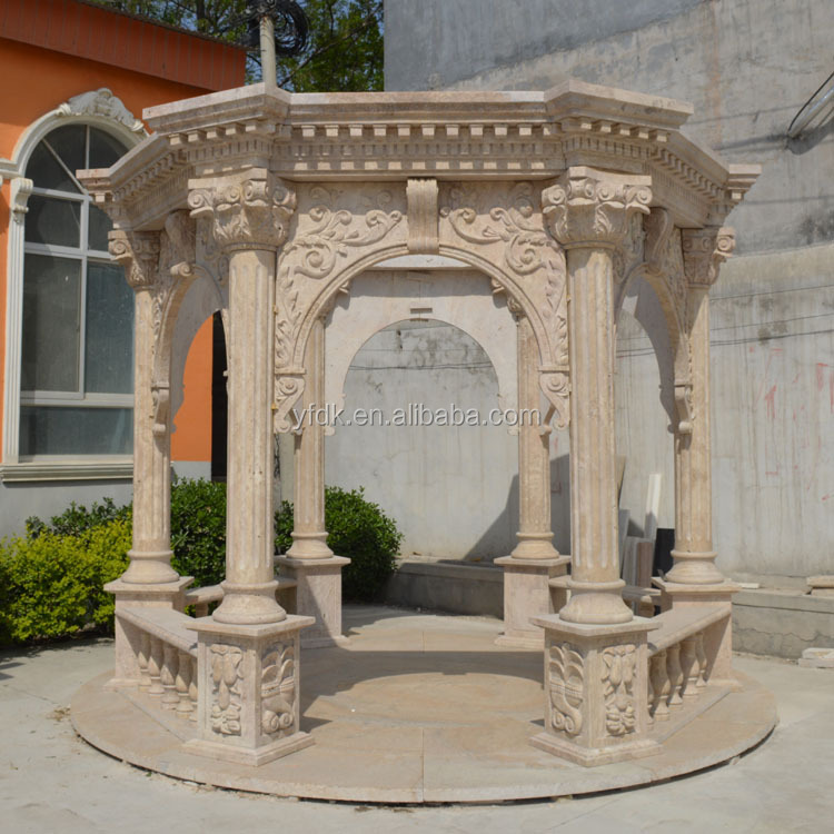 Hand Carved Stone Garden Column Gazebo