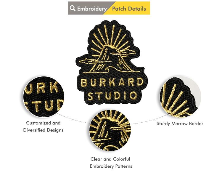 Fábrica produziu personalizado patches bordados atacado para estudantes universitários e professores