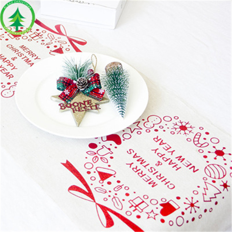 New Christmas Decorations Creative Christmas Cotton linen Printed Tablecloth Christmas Desktop Table Decoration