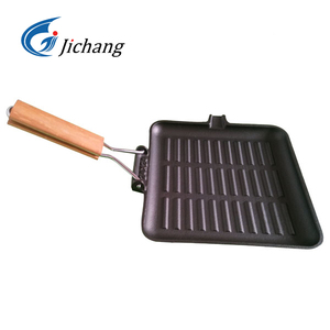 wooden handle square cast iron griddle