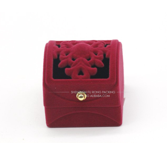 Chinese antique carboard pink velvet jewelry ring gift boxes with mirror