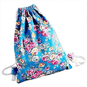 24e0218ea Get Quotations · Drawstring Backpack - SODIAL(R)Womens Floral Canvas  Backpack Fashion School bags Drawstring Backpack