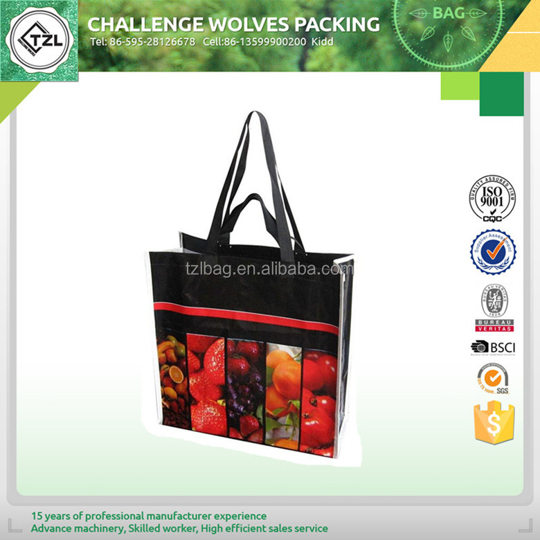 Laminated pp woven shopping bag and reusable totes with design logo