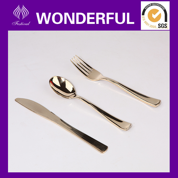 Cheap plastic gold cutlery set knife fork spoon