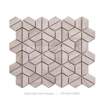 Große Lager Holz Grau Hexagon Natur Marmor Mosaikfliesen Buy - Mosaik fliesen größe