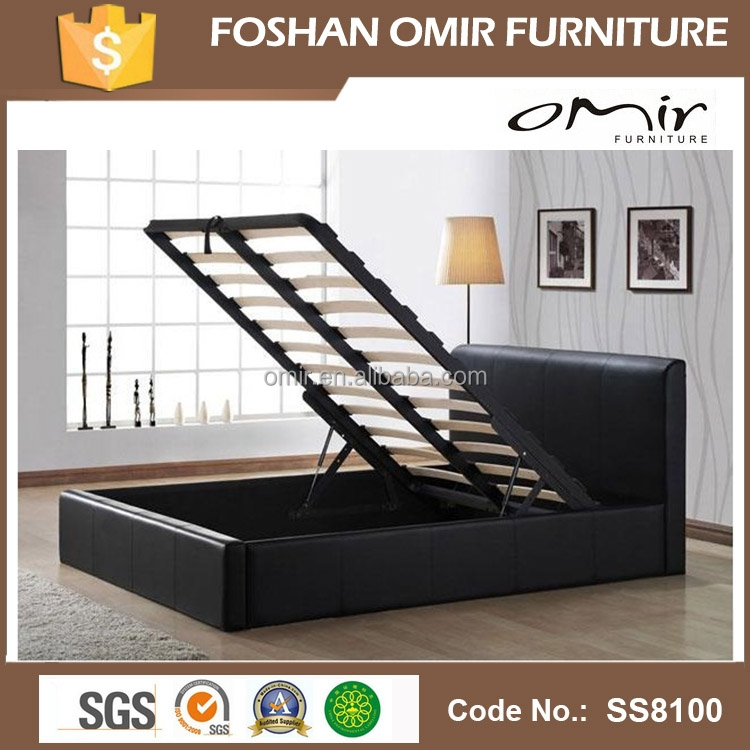 Leather Bed Metal Bed Frame With Storage Space Ss8100 - Buy Metal ...