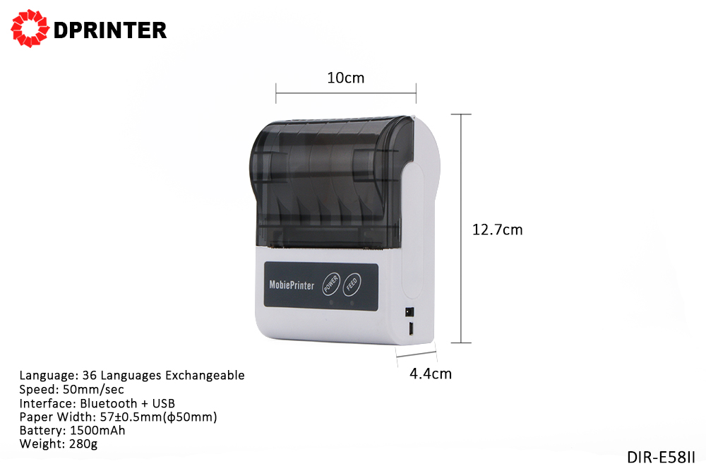 Dprinter Mini 58MM Wireless Bluetooth Portable Thermal Receipt Printer