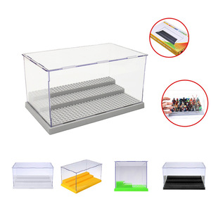 Factory Wholesale 3 Steps Display Case Acrylic Box Dustproof ShowCase Gray Base For Blocks Acrylic Plastic Display