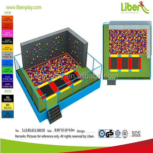 5.LE.B5.611.060.01 small foam pit and climbing rock kids commercial indoor trampoline