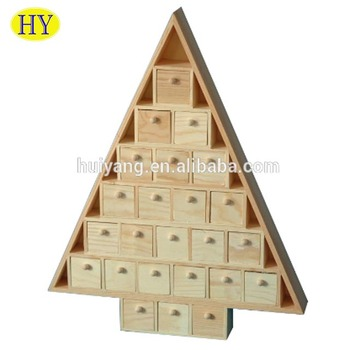 customized tree shape unfinished wooden advent calendar wholesale - Wooden Christmas Advent Calendar