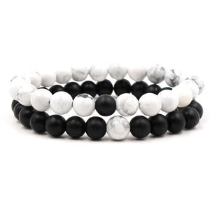 Couples His and Hers Bracelet Black Matte Agate & White Howlite 8mm Distance Beads Bracelets