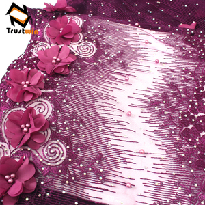 Embroidery high quality 3d flowers tulle lace with beads