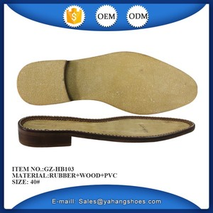 full size gents rubber +pvc +wood shoe sole for high grade leather shoes