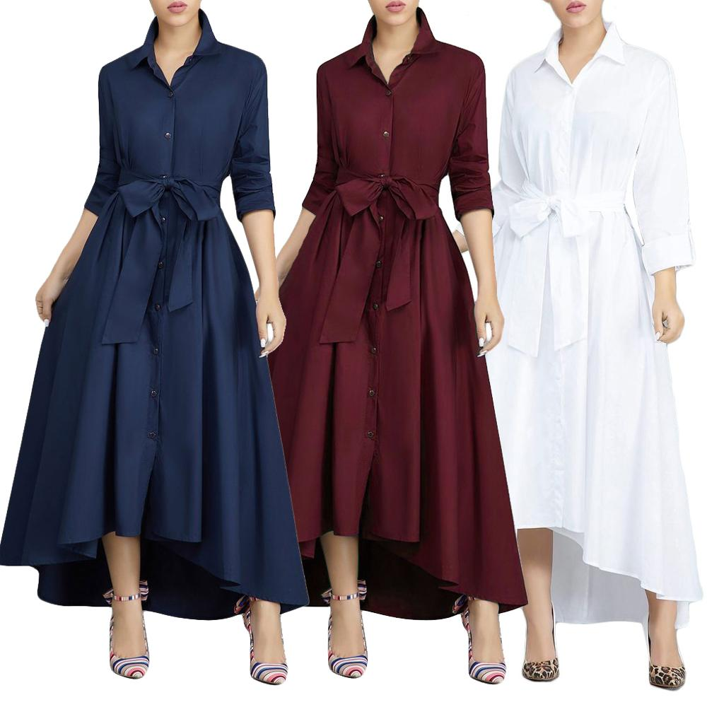 Vestidos 2019 Ebay Amazon Spring Long Sleeve Fashion Women Dresses Casual Ladies Shirtdress With Belt Long Sleeve Maxi Dress Buy Long Sleeve Maxi