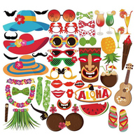 45 pcs Luau Hawaiian Photo Booth Props Kit for Holiday, Summer Festivals Celebrations, Beach Pool parties, Wedding, Birthdays