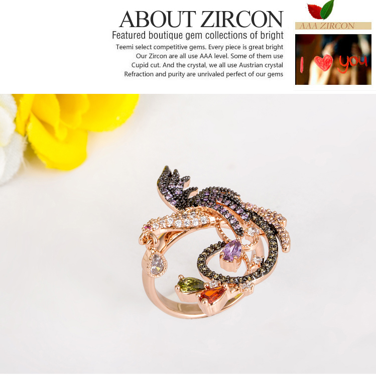 LUOTEEMI Wholesale Aliexpress Design Rose Gold Plated Big Size Women Multi Black CZ Prong Setting Phenix Animal Bird CZ Rings