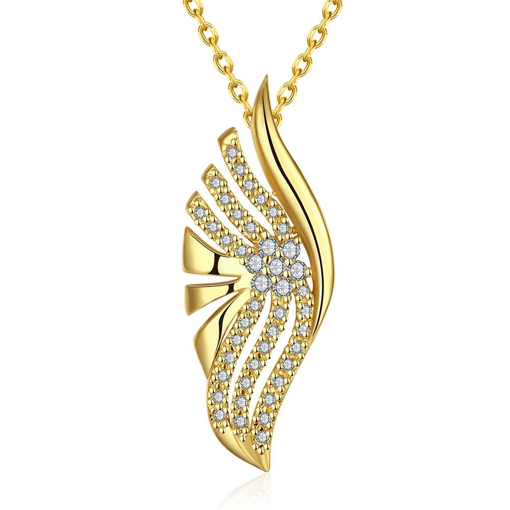 SJCN023 Fine Geometric Shape Hollow Women Brass Gold Plated Pave CZ Rolo Chain Charm Leaf Necklace for Valentine Day Gift