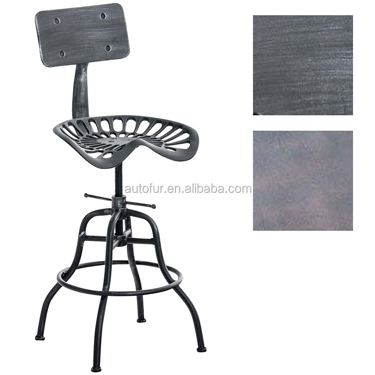 Industrial farmhouse Modern metal adjustable footrest bar backrest stool chair