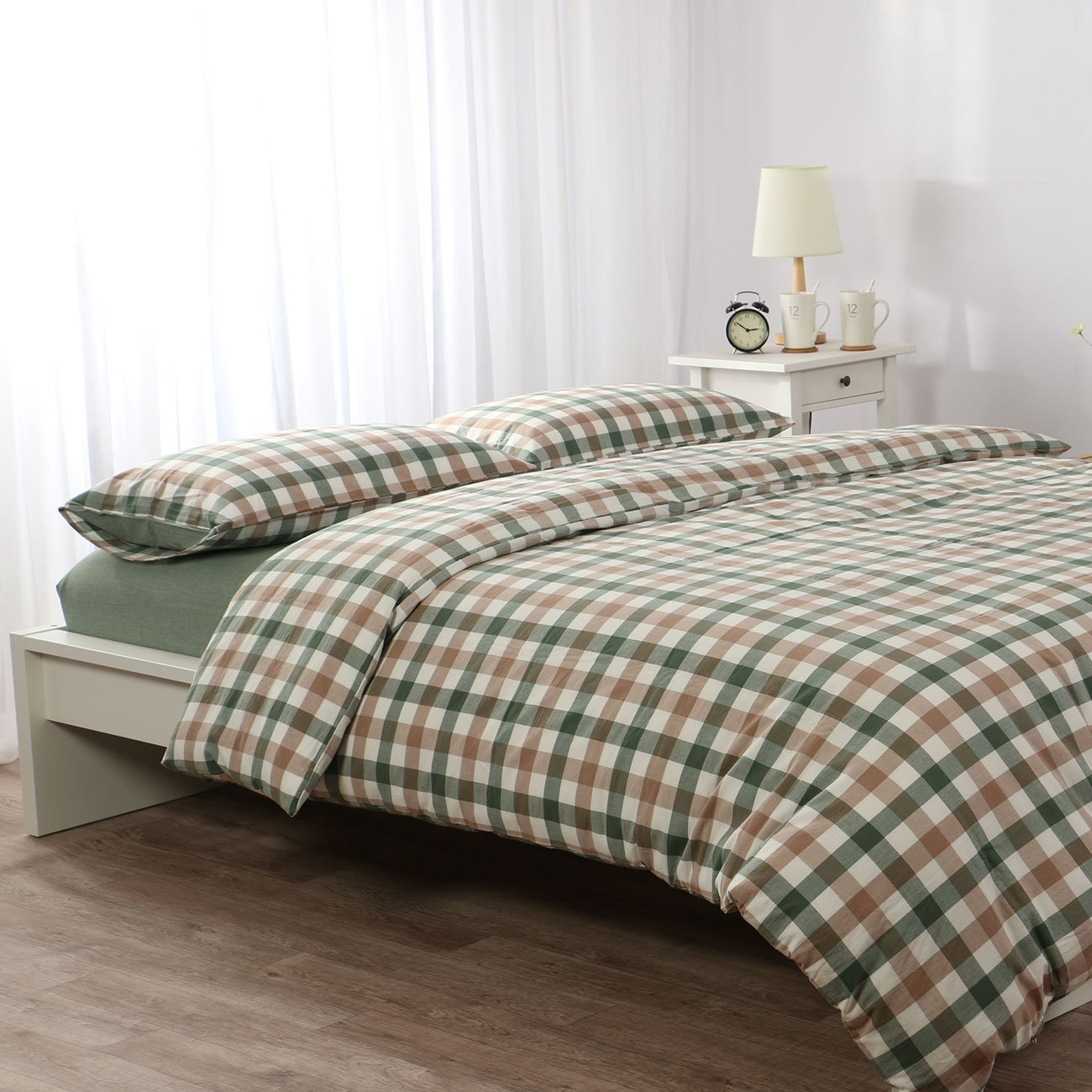 4 Pieces Duvet Cover Set Green and Coffee Grid Plaid Geometric Modern Pattern Printed Bedding Set Comforter Set 1 Flat Sheet 1 Duvet Cover and 2 Pillow Cases by YEHO Art Gallery (Full Size)