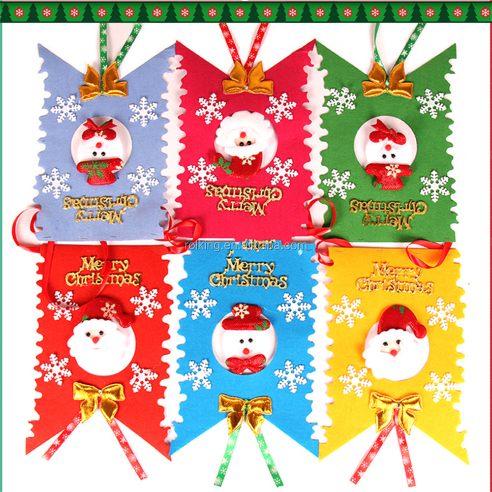 Christmas Tree Decoration Ornaments In Red Felt For Holidays And Thanksgiving - Set of 6 (10x10cm) Snowflakes Reindeer Sack Tree