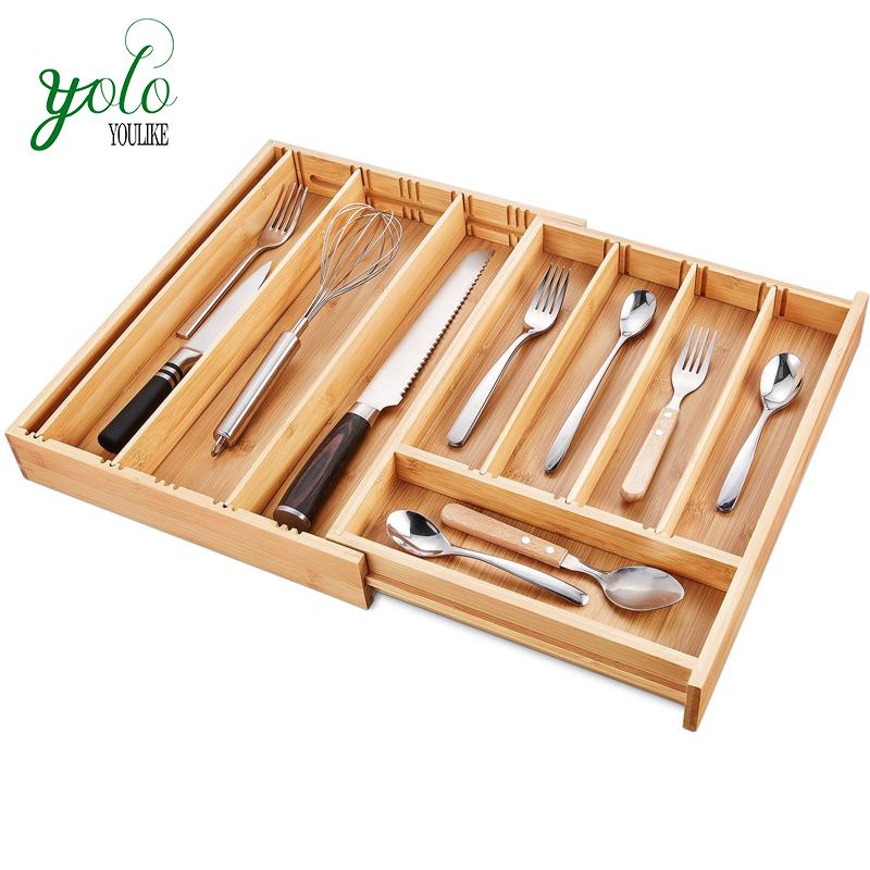 Verstellbarer Bamboo Drawer Organizer, erweiterbarer Besteckhalter und Utensilien-Werkzeugablage