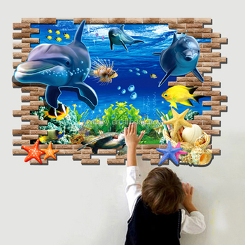 Hot selling 3d dolphin wall stickers removable window decals for kids