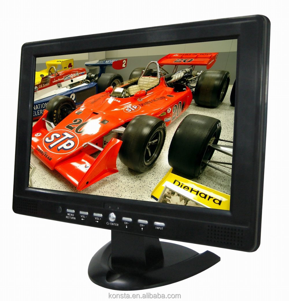 1080P media mkv,mov,rmvb AV USB VGA function 12 inch lcd monitor with rca input