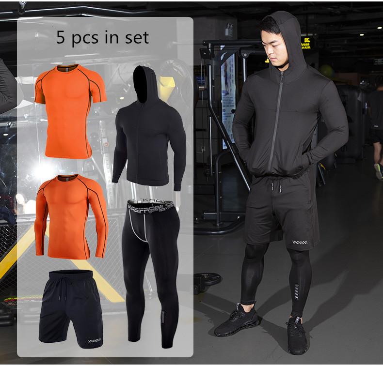 5 stück in set männer quick dry training tragen set gymnastik kleidung lauf anzüge atmungsaktiv laufschuhe tragen sport anzug für mann