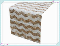YHR#05 chevron sequin banquet wedding wholesale table runner cloth overlay linens