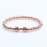 Stainless Steel Gold Plated Silver Barbell Jewelry Punk Bracelets & Bangles Trendy Women Dumbbell Bracelet